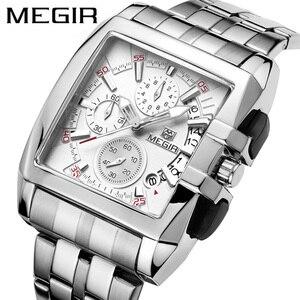 Image 1 - MEGIR Luxe Merk relogio masculino Volledig Stalen Chronograph Mens Quartz Horloge Bedrijf Horloge Mannen Horloges Militaire Klok Nieuwe 2018
