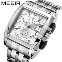 MEGIR Luxury Brand relogio masculino Full Steel Chronograph Mens Quartz Watch Business Watch Men Watches Military Clock New 2018