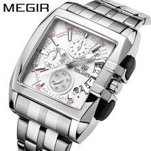 MEGIR montre à Quartz pour hommes, de marque de luxe, chronographe entièrement en acier, montre daffaires, horloge militaire, nouvelle collection 2018