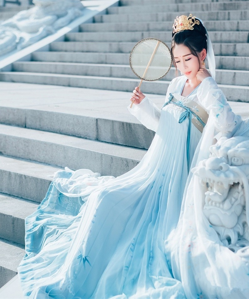 Tang hanedanı antik kostüm Hanfu elbise kadın halk dans giyim çin geleneksel peri prenses elbiseler sahne performansı