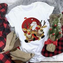 Suitable all seasons new cute reindeer t shirt women fashion