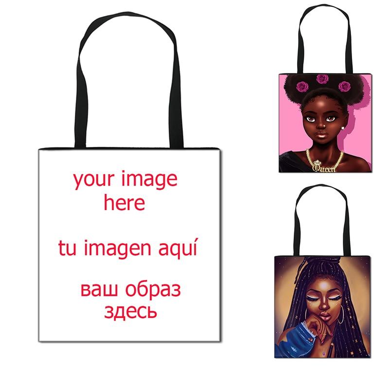 Customize Your Logo / Name / Image Handbag Women Shopping Bag   Girls  Casual Totes Female Shoulder Bag Cartoon Crossbody Bags