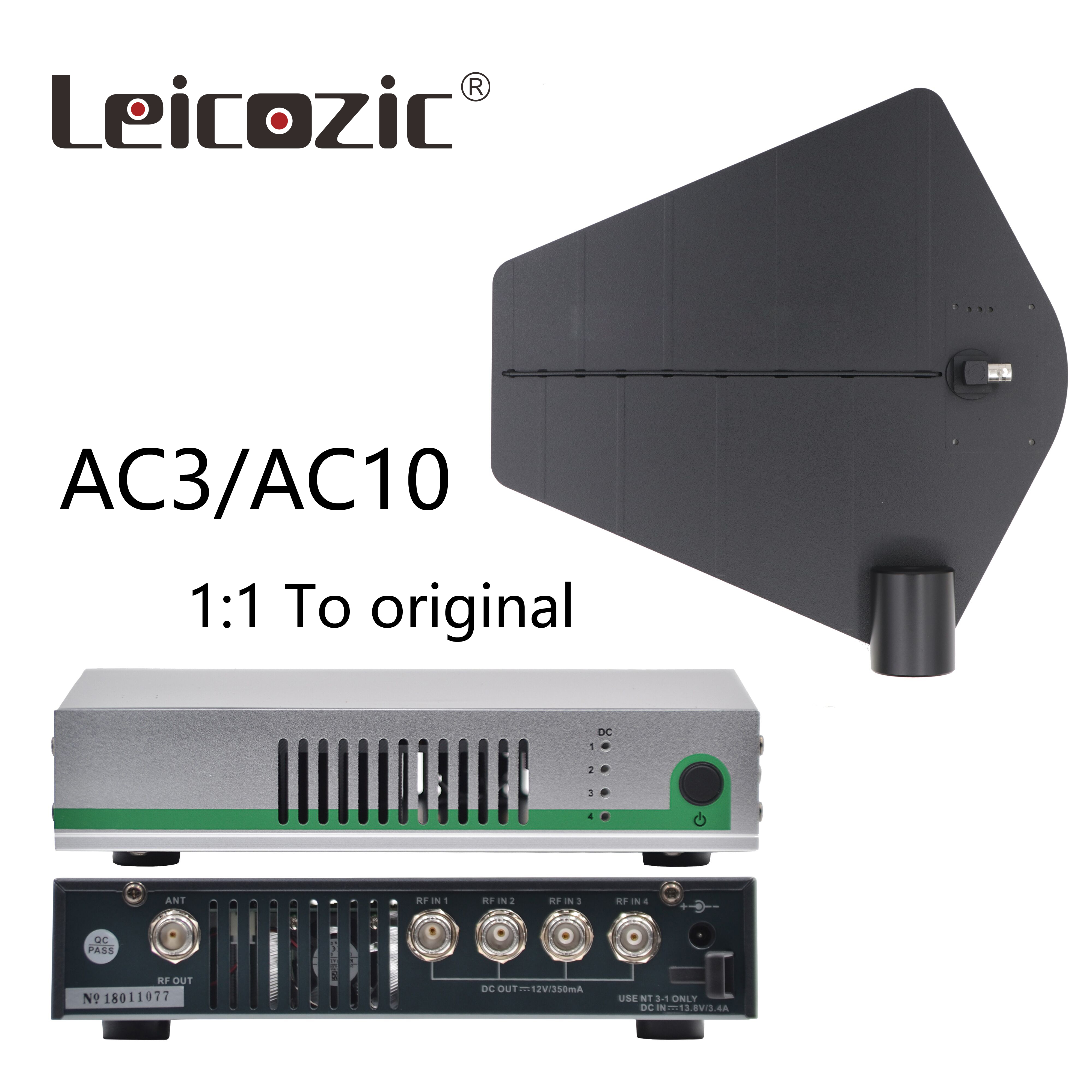 Leicozic AC3 Antenna Combiner & Paddles / AC10 Distribution Amplifier + Active Combiner 450-960Mhz For In Ear Monitor System