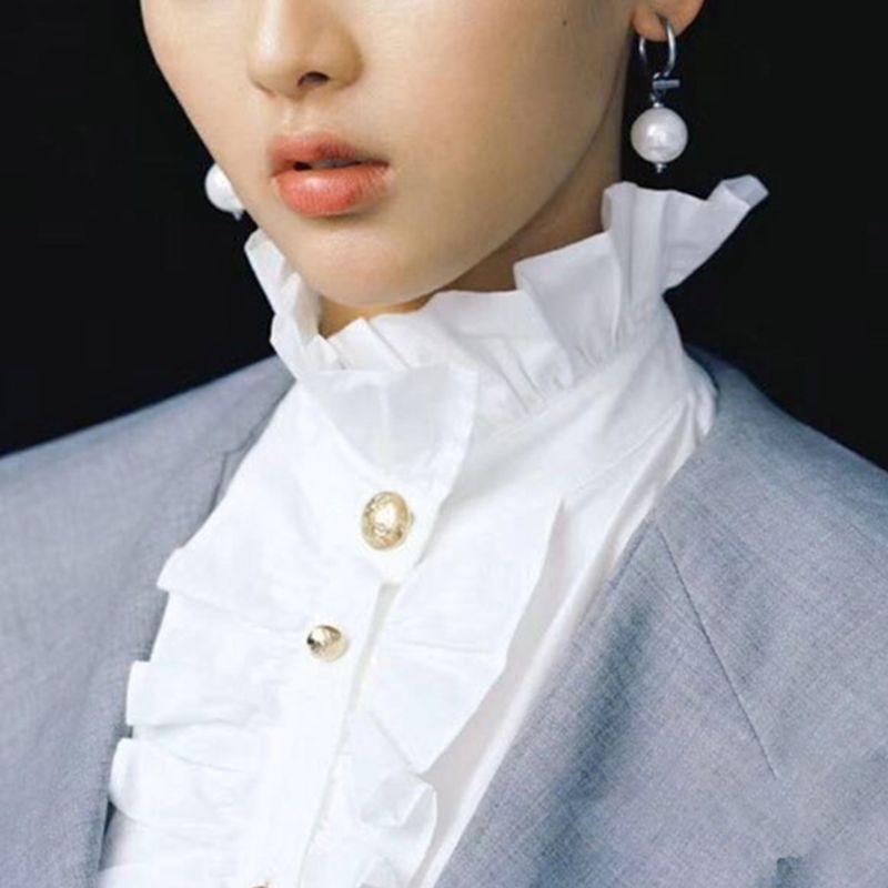 1PC Womens Victorian Vintage Palace Half Shirt Blouse Stand-Up Ruffles Fake Collar