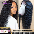 Cranberry Hair Deep Wave Closure Wig Human Hair Wigs For Black Women Peruvian Deep Wave Wig Pre Plucked 4X4 Lace Closure Wig