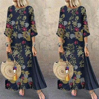 Womens Maxi Beach Dress 2019 Summer Half Sleeve Casual Boho Kaftan Tunic Gypsy Ethnic Style Floral Print Plus Size Dresses S-5XL 3