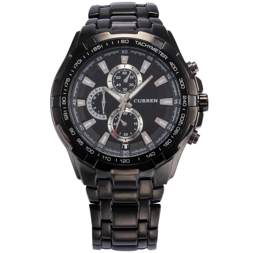 8023 Black Shell Black Surface Black Steel Belt Three-eye Quartz Watch