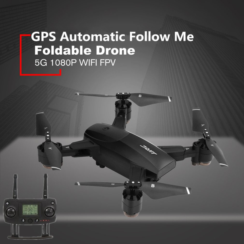 Portable Foldable 5G WiFi FPV 1080P Wide Angle HD Camera GPS Follow Me Dual Mode Positioning Foldable RC Drone Quadcopter RTF image