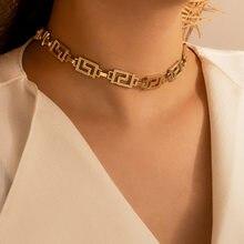 Novo único camada de ouro oco feminino curto pescoço corrente moda retro gótico punk corrente colar de jóias para mulher