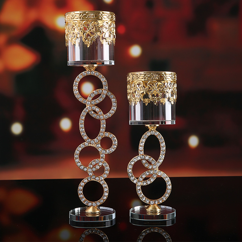Modern Minimalist Glass Crystal Candle Holders Metal Gold Candle Holder Decoration Centro De Mesa Decorativo Home Decor Bb50 image