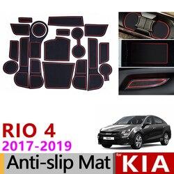 Dla Kia Rio 4 X-Line RIO 2017 2018 2019 antypoślizgowa gumowa poduszka pod kubek mata do schowków na drzwiach 18 sztuk akcesoria samochodowe naklejki do stylizacji