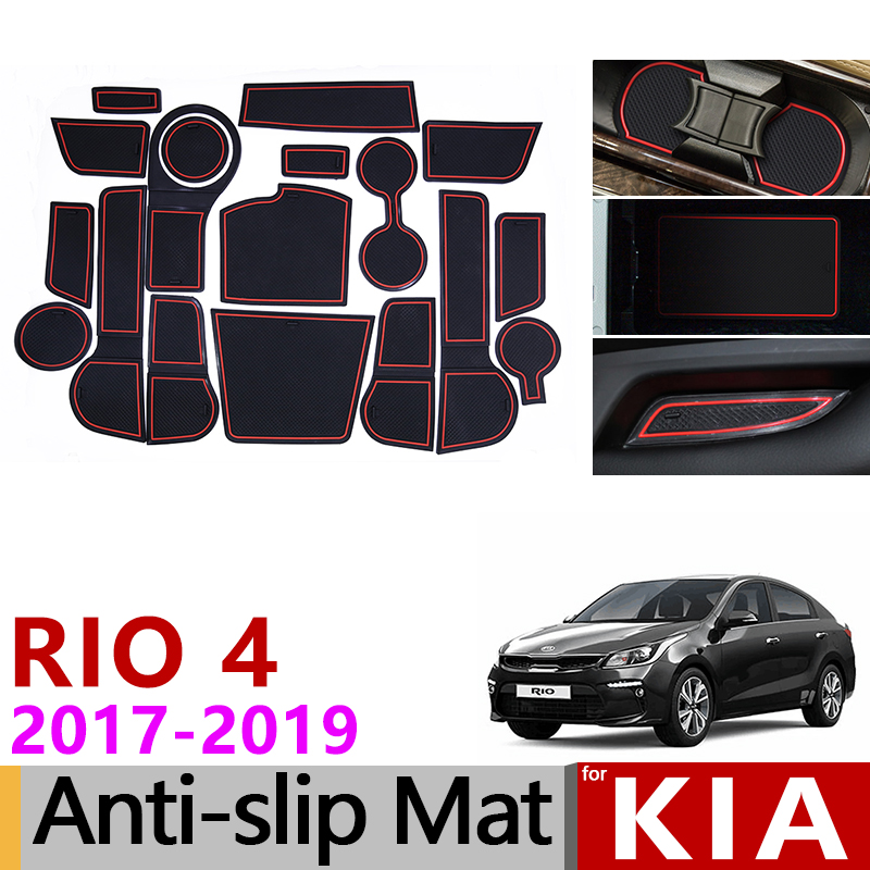 for Kia Rio 4 X Line RIO 2017 2018 2019 Anti Slip Rubber Cup Cushion Door Groove Mat 18pcs Accessories Car Styling Stickers|Car Stickers| |  - title=