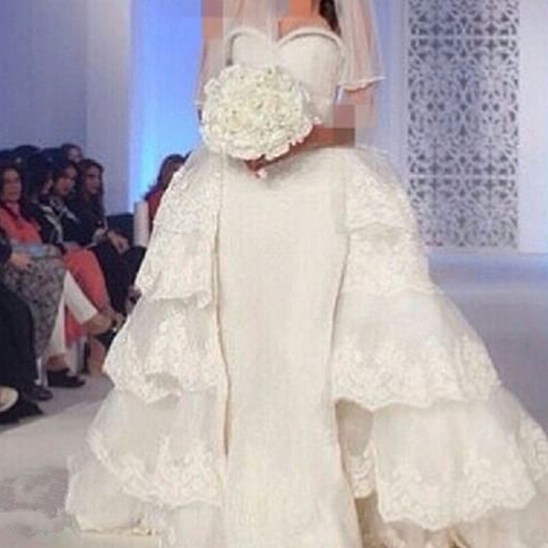 Vestido De Novia 2018 Sheath Lace Appliques Detachable Skirt Saudi Arabia Off Shoulders Bridal Gown Mother Of The Bride Dresses
