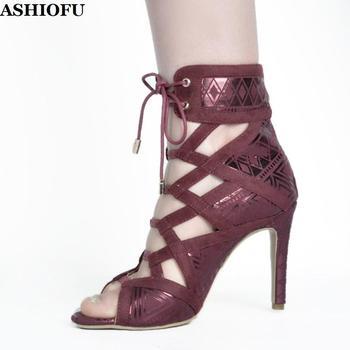 ASHIOFU New Style Handmade Ladies High Heel Pumps Cross Strap Party Prom Dress Shoes Sexy Evening Club Fashion Sandals Shoes