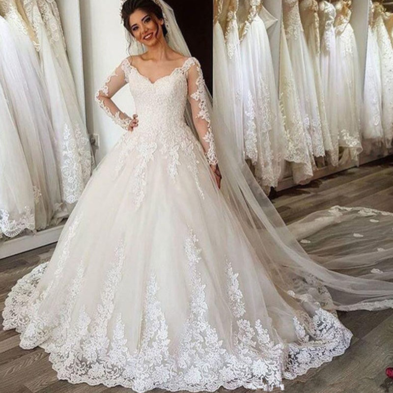 Long Sleeves Wedding Dress Vestido De Noiva Bride Dress Robe Mariage V Neck Lace Appliques Vintage Lace Up Bridal Gowns