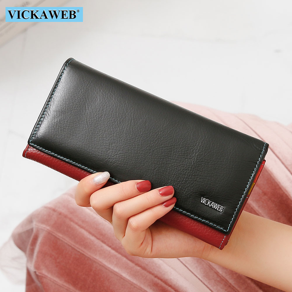 VICKAWEB Multifunctional Women Wallets Genuine Leather Female Purses Long Clutch Patchwork Hasp Purse Phone Wallet Card Holder