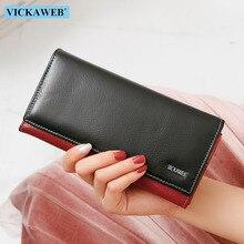 Vickweb multifuncional mulheres carteiras de couro genuíno bolsas femininas longo embreagem retalhos ferrolho bolsa telefone carteira titular do cartão