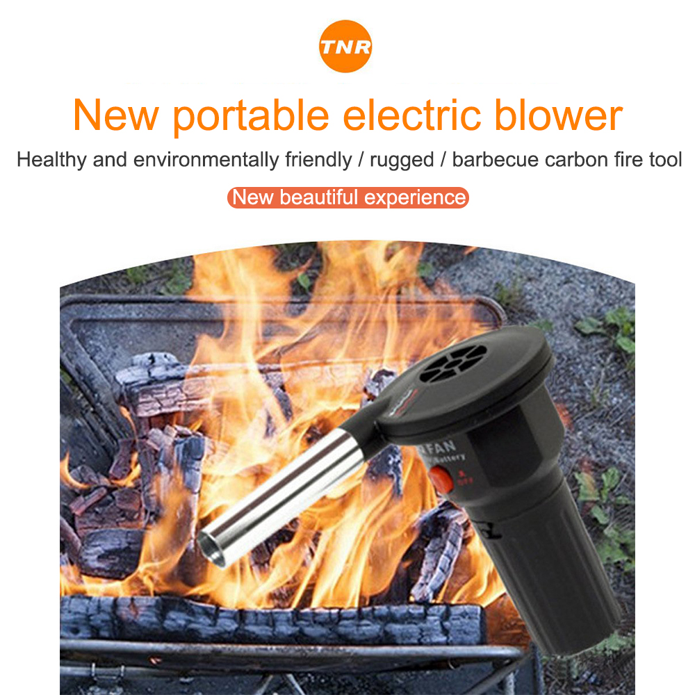 Mini Electric Blower Outdoor Barbecue Appliances Portable Hair Dryer Small Gas-fired Picnic Cooker Carrying BBQ Fire Tools