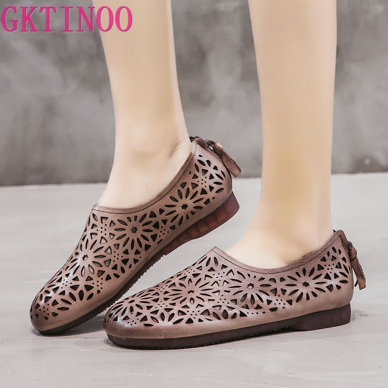 GKTINOO Genuine Leather Women's Sandals Vintage Handmade Summer Shoes Woman Cut Outs Flat With Sandals Casual Shoes