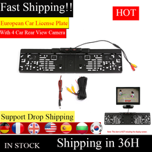 European Car License Plate Frame Number Plate Holder with 4 IR LED Backup Camera Car Rear View Camera Parking assistant camera(China)