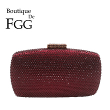 Boutique De FGG Wine Red Diamond Women Evening Bags and Clutches Ladies Wedding Cocktail Crystal Clutch Purses Party Handbags