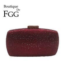 Boutique de fgg vinho vermelho diamante mulher sacos de noite e embraiagens senhoras casamento cocktail cristal embreagem bolsas festa bolsas