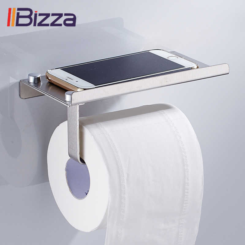 Batheroom Toilet Roll Paper Holder with Phone Storage Shelf Holders Wall Mounted