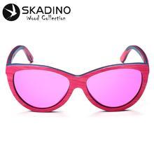 SKADINO Wooden Sunglasses UV400 Polarized For Women Cat Eye Sunglasses Lady Skateboard Men Pink Lens Wood Handmade Cool Brand
