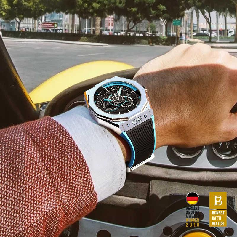 자동 기계식 시계 남자 톱 브랜드 GATTI 럭셔리 가죽 남성 손목 시계 방수 스포츠 블루 시계 Relogio Masculino