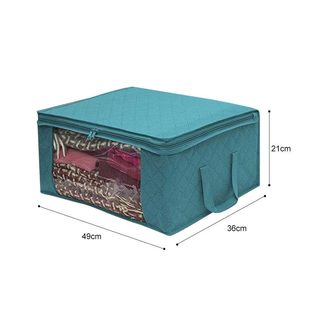 Włóknina składany schowek brudne ubrania zbieranie etui z zamkiem błyskawicznym do zabawek pojemnik na kołdry pudełko przezroczyste okienko Organizer
