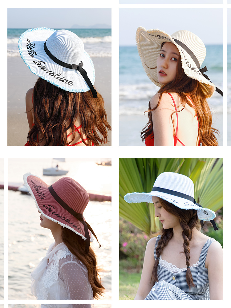 Hac62dbdcf6024e68817693ec05f0eec5N - Handmade Weave letter Sun Hats For Women Black Ribbon Lace Up Large Brim Straw Hat Outdoor Beach hat Summer Caps Chapeu Feminino