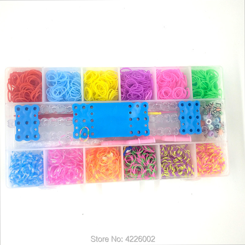 1800pcs Elastic Rubber Loom Bands DIY Tool Set Box Weave Bracelet Handicraft Girl Gift Children Kids Toys For Teenage 8 10 Years