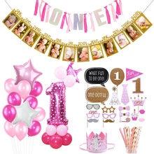 Decoración Para fiesta de primer cumpleaños de bebé niña, suministros para primer cumpleaños, tema rosa, 1 número, globo de aluminio, cartel de fiesta