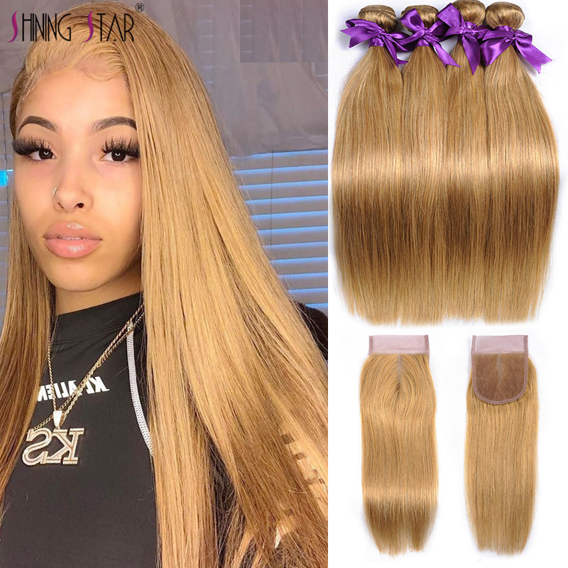 Shining Star Straight Honey Blonde 3 Bundles With Closure Color 27 Human Hair Bundles With Closure Peruvian Hair Weave Non-Remy