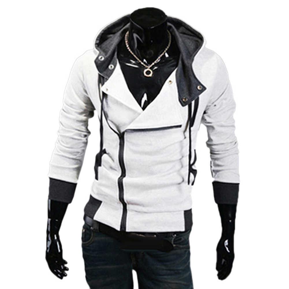 M-5XL 春/秋スポーツウインドブレーカーランニングジャケットプラスサイズ男性長袖対角線ジッパー巾着フードルーススポーツコート