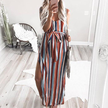 цена на Women's Maternity Pregnanty Strap Sleeveless Multicolor Stripe Print Long Dress Maternity Casual Belt Dress одежда для беремених