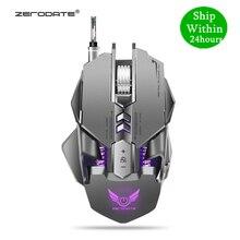 Zerodate x300gy mouse com fio usb, mouse para jogos de computador, mecânico, mouse 3200dpi led de fundo para lol dota2 computador