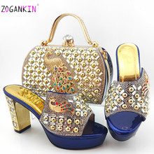 Elegant New Coming Italian Dark Blue Shoes And Bag To Match Set African High Heels Party Shoes And Bag Set For Wedding Dress(China)