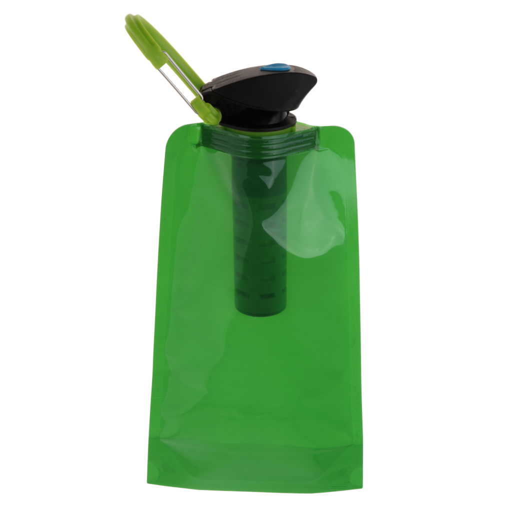 Green Color ABS Plastic Soft Foldable Collapsible Water Filter Bag Bottle|Bicycle Water Bottle| |  - title=