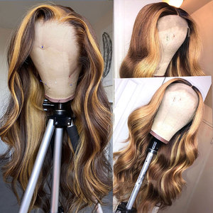 30 Inch Highlight Human Hair Wigs Body Wave Lace Front Wig Peruvian Hair Remy 13x1 T Part Honey Blonde And Brown Highlight Wig