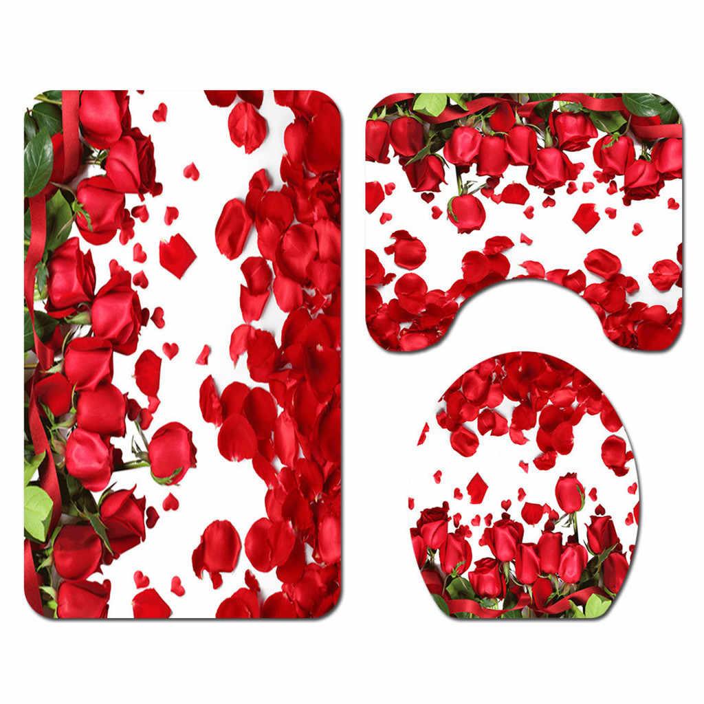 花のシャワーカーテン床マット 4 ピース浴室マットセット # p8