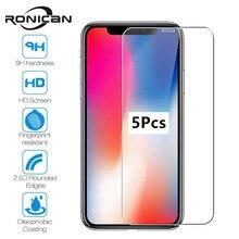 5PcsสำหรับiPhone 7 8 6 6S Plus X XS Max XRกระจกนิรภัยหน้าจอป้องกันฟิล์มสำหรับiPhone 11 Pro Max 5 5S SE 2020