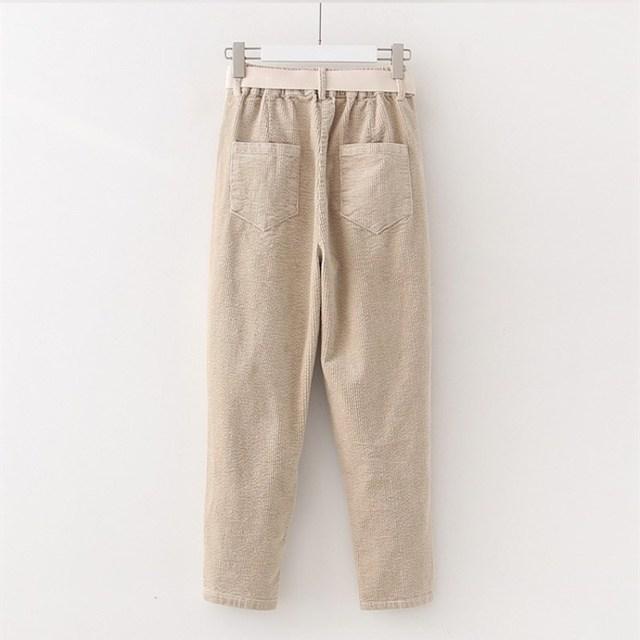Corduroy Pants Harem Pants Autumn Winter Women Pants Elastic Waist Sashes Casual Black Trousers pantalones mujer cintura alta 5