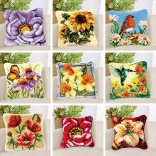 Latch Hook Cartoon Embroidery Cushion Cover PillowCase DIY Flower Craft Cross Stitch Needlework Crocheting Sofa Accessories Gift