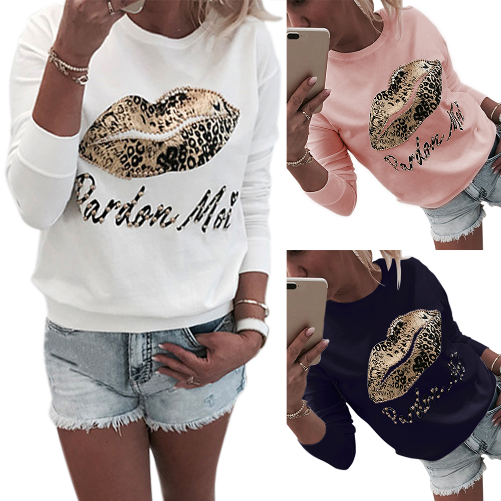Women Pullover Tops Shirt Sweatshirt Autumn O Neck Long Sleeve Lady Blouses Shirt White Letter Printed Beading Casual Camisa D30