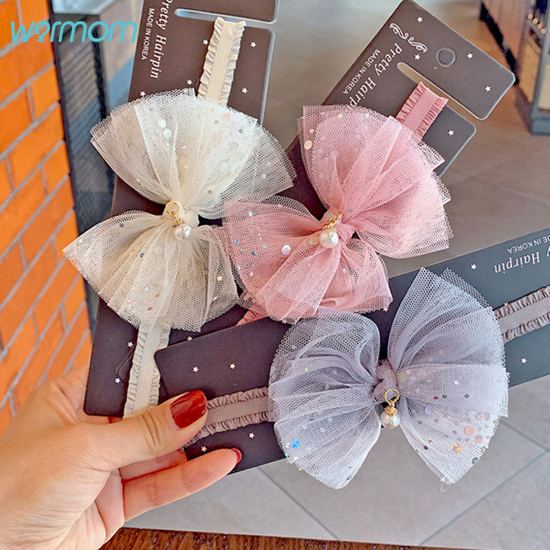 Warmom Baby Girls Lace Sequin Bowknot Headband Hair Accessories Newborn Infant Princess Elastic Bandeau Kids Cute Headwear Gifts