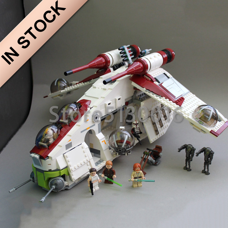 In Stock <font><b>05041</b></font> Star Wars Series The Republic Gunship 1175pcs Building Blocks Compatible with 75021 Bricks Toys Gifts image