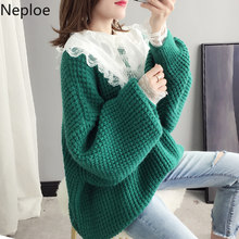 Neploe Crazy Style Women Pullover Coarse Sweater Elegant Lace Loose Bat Sleeve Jersey Mujer Inverno Knit Bottom Autumn Top 45925(China)