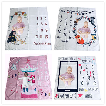 Baby Milestone Month Photo Blanket Photography Background Cloth Newborn Month Blanket Accessories Elephant Owl Duck Pattern wings pattern baby milestone blanket