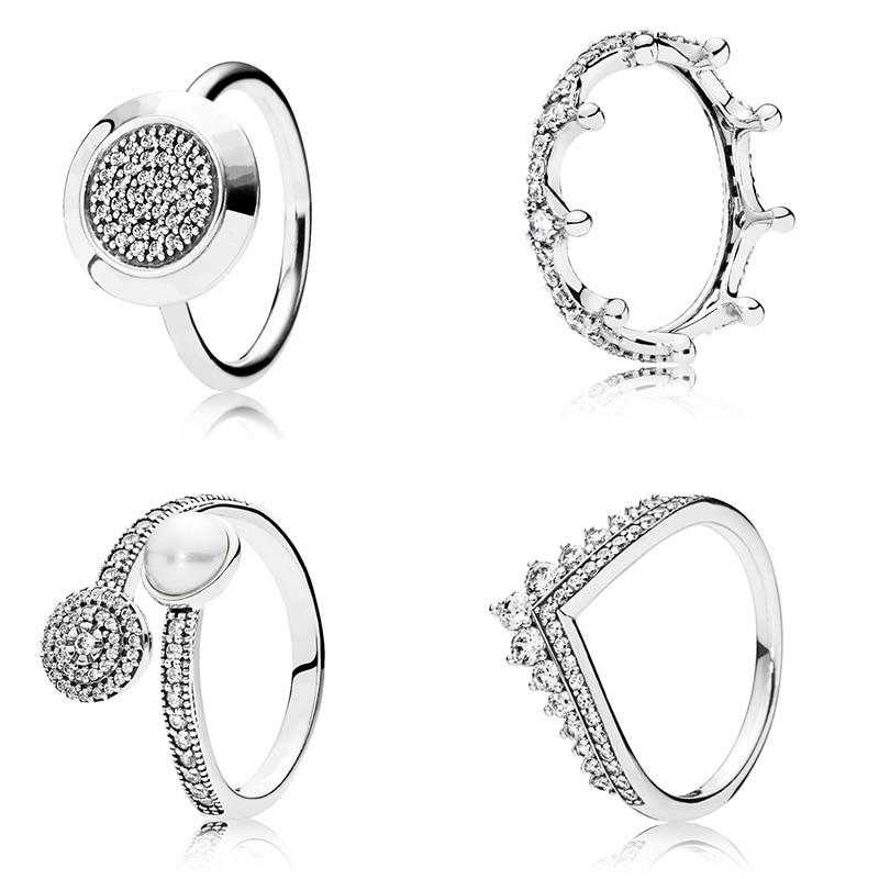 Кольцо из стерлингового серебра 925 пробы, Очаровательная корона Diy, Cz с жемчугом, Женское кольцо на палец, для женщин, 925 пробы, для вечеринки, свадьбы, хорошее ювелирное изделие